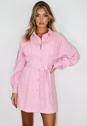 Missguided Pink Cord Cinched Waist Shirt Dress