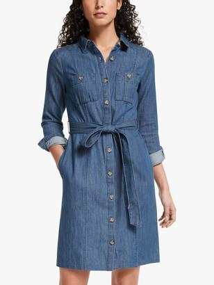 Boden Holly Button Down Denim Dress, Mid Vintage Blue