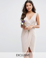 TFNC WEDDING Wrap Midi Dress with Bow Back