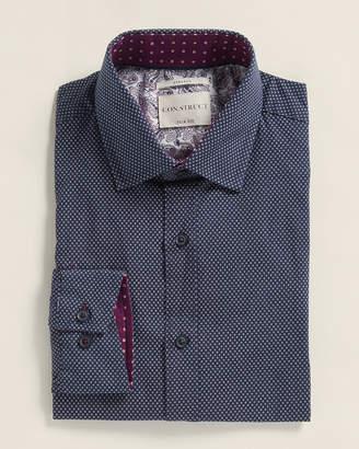 Con.Struct Navy Micro Dot Slim Fit Dress Shirt