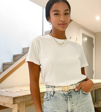 ASOS DESIGN Petite ultimate organic cotton t-shirt with crew neck in white