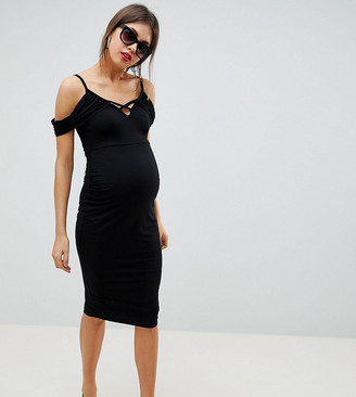 ASOS DESIGN Maternity cold shoulder bodycon midi dress with strap detail