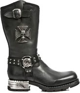 New Rock Boots with Skull Iron Cross and Skull Buckle with Steel Heel