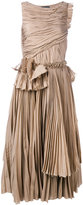 Rochas pleated flared dress - women - Cotton/Silk - 40