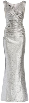 Talbot Runhof Sleeveless V-Neck Mirror Jersey Gown