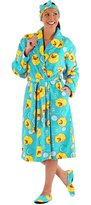 i-Smalls Selena Secrets Women's Duck Print Robe with Headband & Slippers Gift Set (S/M)