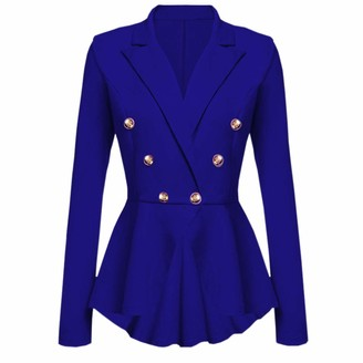 Kalorywee Sale Cleance Blazer KaloryWee Womens New Long Sleeve Fitted Peplum Jackets Ladies Slim Fit Gold Buttons Flared Frill Dress Blazer Jacket