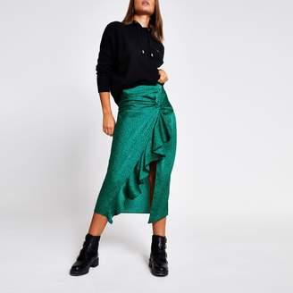River Island Womens Green animal print twist front midi skirt