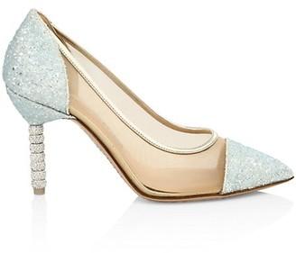Sophia Webster Jasmine Embellished-Heel Glitter Leather & Mesh Pumps