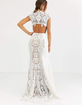 Jovani high neck lace fishtail dress-White