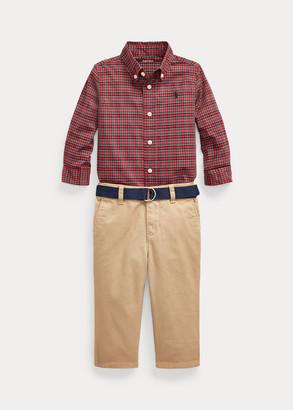 Ralph Lauren Plaid Shirt, Belt & Chino Pant Set