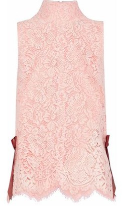 Ganni Duval Bow-embellished Guipure Lace Top
