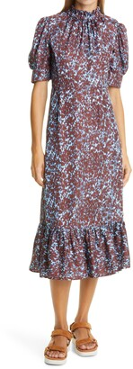 Sea Celine Print Silk Jacquard Midi Dress