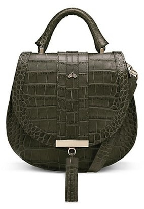 DeMellier Mini Venice Croc-Embossed Leather Saddle Bag