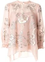 Biyan silk floral embroidered blouse