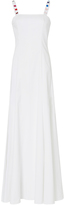 Rosie Assoulin Gazelle White Cotton Gown with Multicolored Button Detail