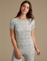 Marks and Spencer Star Print Glitter Short Sleeve Pyjama Top