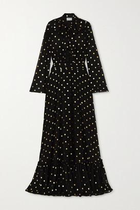 Redemption Pussy-bow Ruffled Metallic Polka-dot Chiffon Gown - Black