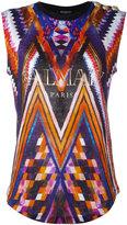 Balmain printed logo tank top - women - Linen/Flax - 36