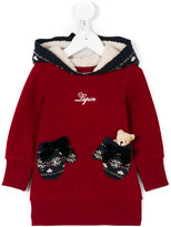 Lapin House glove pockets hooded dress