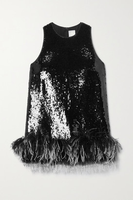 Huishan Zhang Coral Feather-trimmed Sequined Tulle Top - Black