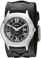 Nemesis Unisex 099FXB-K Black Roman Casual Series Faded Black X Leather Cuff Band Analog Display Japanese Quartz Black Watch