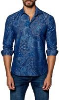 Jared Lang Long Sleeve Pattern Woven Trim Fit Shirt