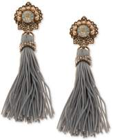 Marchesa Gold-Tone Crystal and Imitation Pearl Tassel Drop Earrings