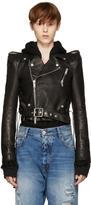 Unravel Black Leather Chopped Biker Jacket
