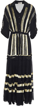 Temperley London Gathered Sequined Georgette Maxi Shirt Dress