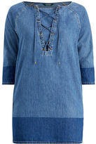 Ralph Lauren Woman Lace-Up Denim Shift Dress