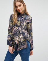 Warehouse Silk Printed Tie Neck Blouse