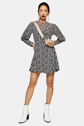 Topshop TALL Black and White Twist Grunge Mini Dress