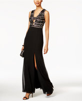 Adrianna Papell Beaded Cutout Bodice Gown