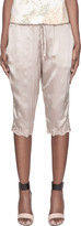 Suno Taupe Floral Embroidery Silk Capris