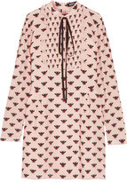 Markus Lupfer Flying Bumble Printed Silk Crepe De Chine Mini Dress - Blush