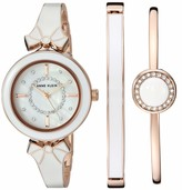 Anne Klein Women's AK/3338WTST Swarovski Crystal Accented Rose Gold-Tone and White Watch with Bangle Set