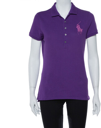 Ralph Lauren Purple Stone Embellished Logo Detail Polo T-Shirt L