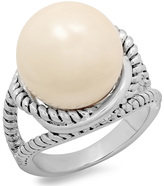 Faux Pearl & Antiqued Silvertone Ring