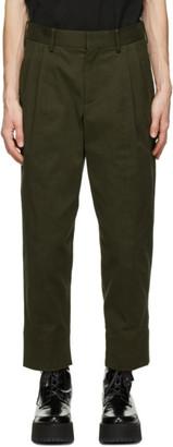 Neil Barrett Khaki 2 Pleat Wide Tapered Trousers