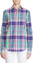 Ralph Lauren Hannah Madras-Plaid Poplin Shirt, Green
