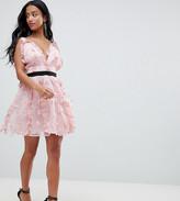 Asos DESIGN Petite 3D floral mini prom dress