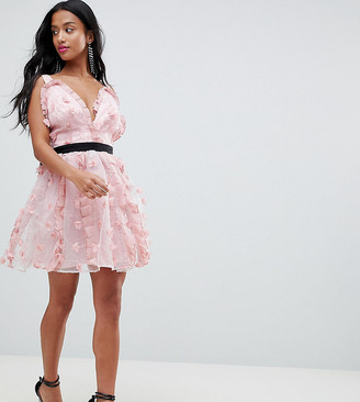 Asos DESIGN Petite 3D floral mini prom dress-Pink