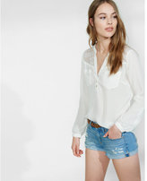 Express lace yoke notch neck blouse