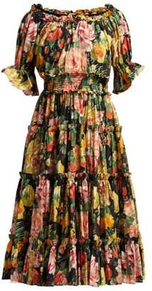 Dolce & Gabbana Peony-print Cotton-poplin Midi Dress - Womens - Black Multi
