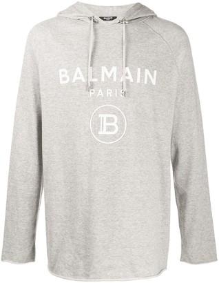 Balmain Logo-Print Loose-Fit Hoodie