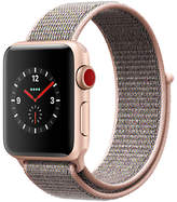 Apple Watch Series 3, GPS and Cellular, 38mm Gold Aluminium Case with Sport Loop, Pink Sand