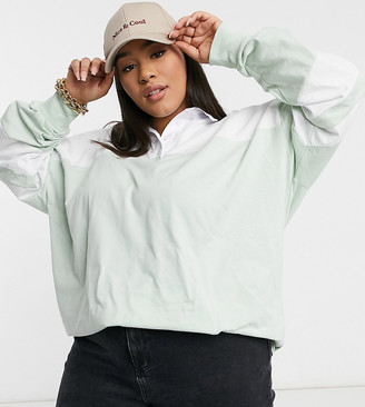 ASOS DESIGN Curve oversized polo top in colour-block in mint