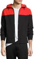 Rag & Bone Colorblock Zip-Front Hoodie, Red/Black