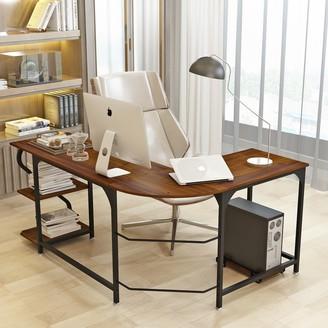 Elephance Reversible L-Shaped Computer Desk with Bookshelves, Large PC Laptop Corner Desk Writing Study Table for Home Office Bedroom